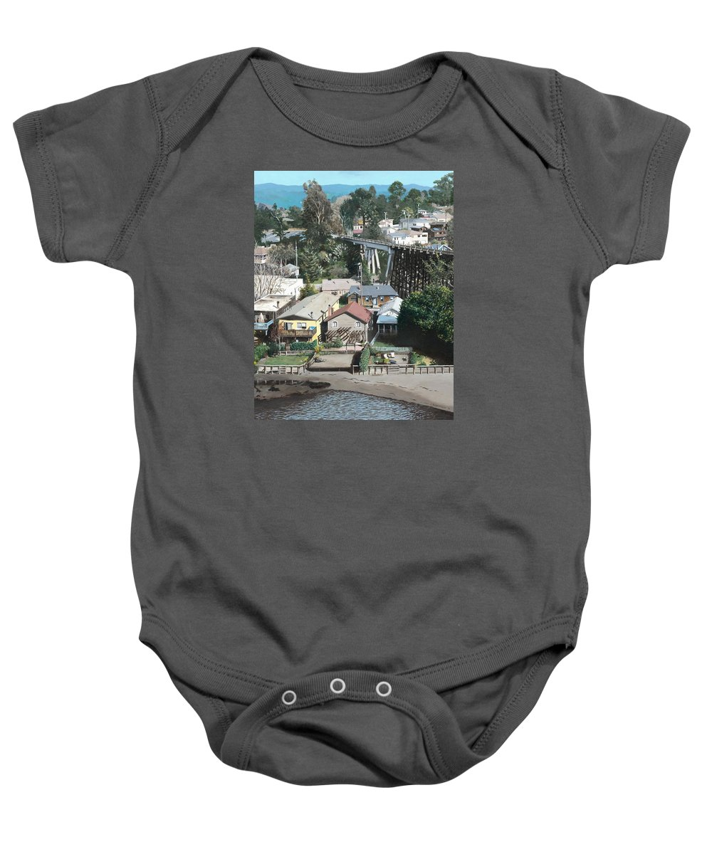 Landscape Baby Onesie featuring the painting Capitola Trestle by James Robertson