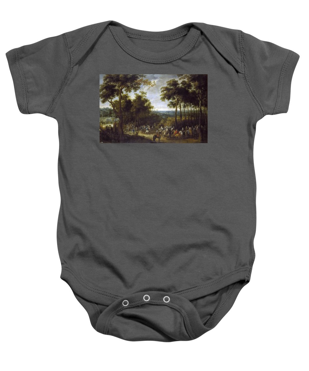 Pieter Snayers Baby Onesie featuring the painting Cardinal-infante On The Hunt by Pieter Snayers