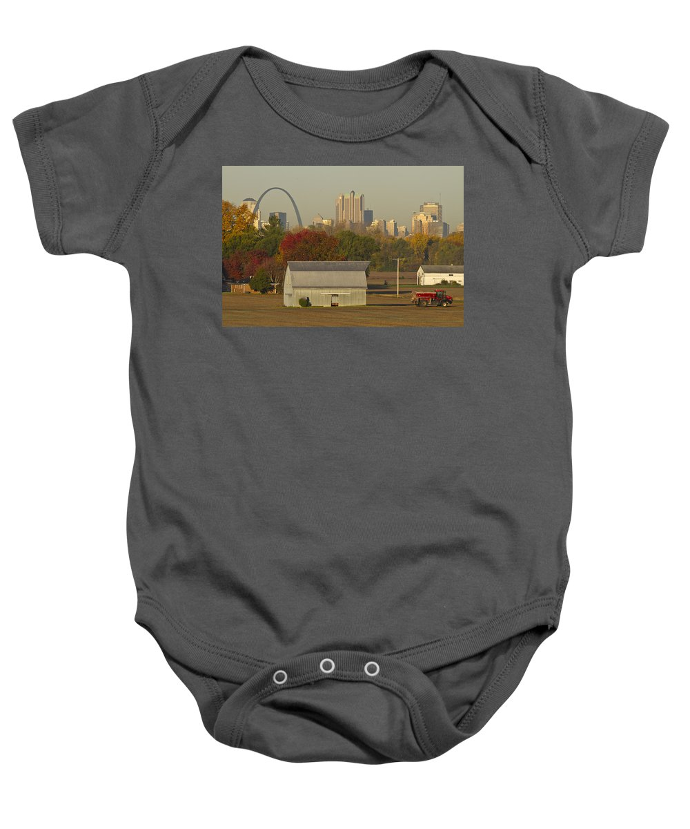 St Louis Baby Onesie featuring the photograph Carls Barn And The Arch by Garry McMichael