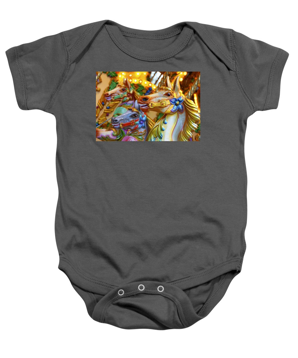 Carousel Baby Onesie featuring the photograph Carousel Horses by Dutourdumonde Photography