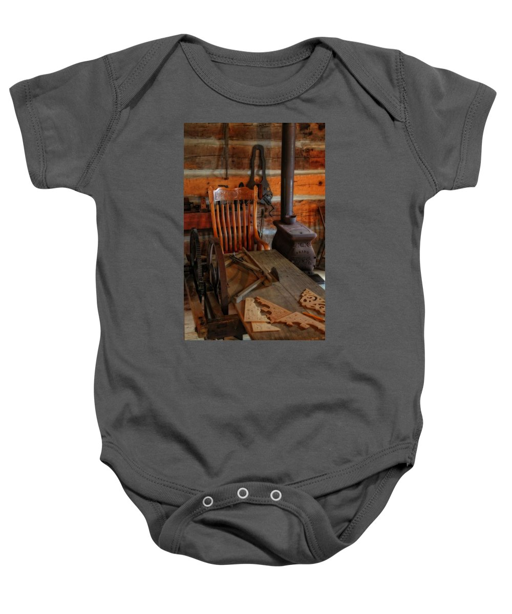 Carpentry Workshop Baby Onesie featuring the photograph Carpentry Workshop by Dan Sproul
