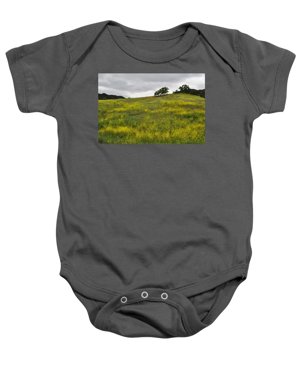 Pacific Coast Oak Baby Onesie featuring the photograph Carpet Of Malibu Creek Wildflowers by Kyle Hanson