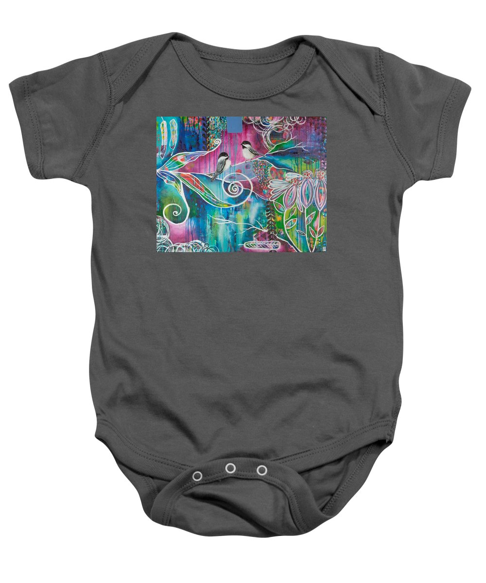 Birds Baby Onesie featuring the painting Carried Away by Amber Malarsie Moritz