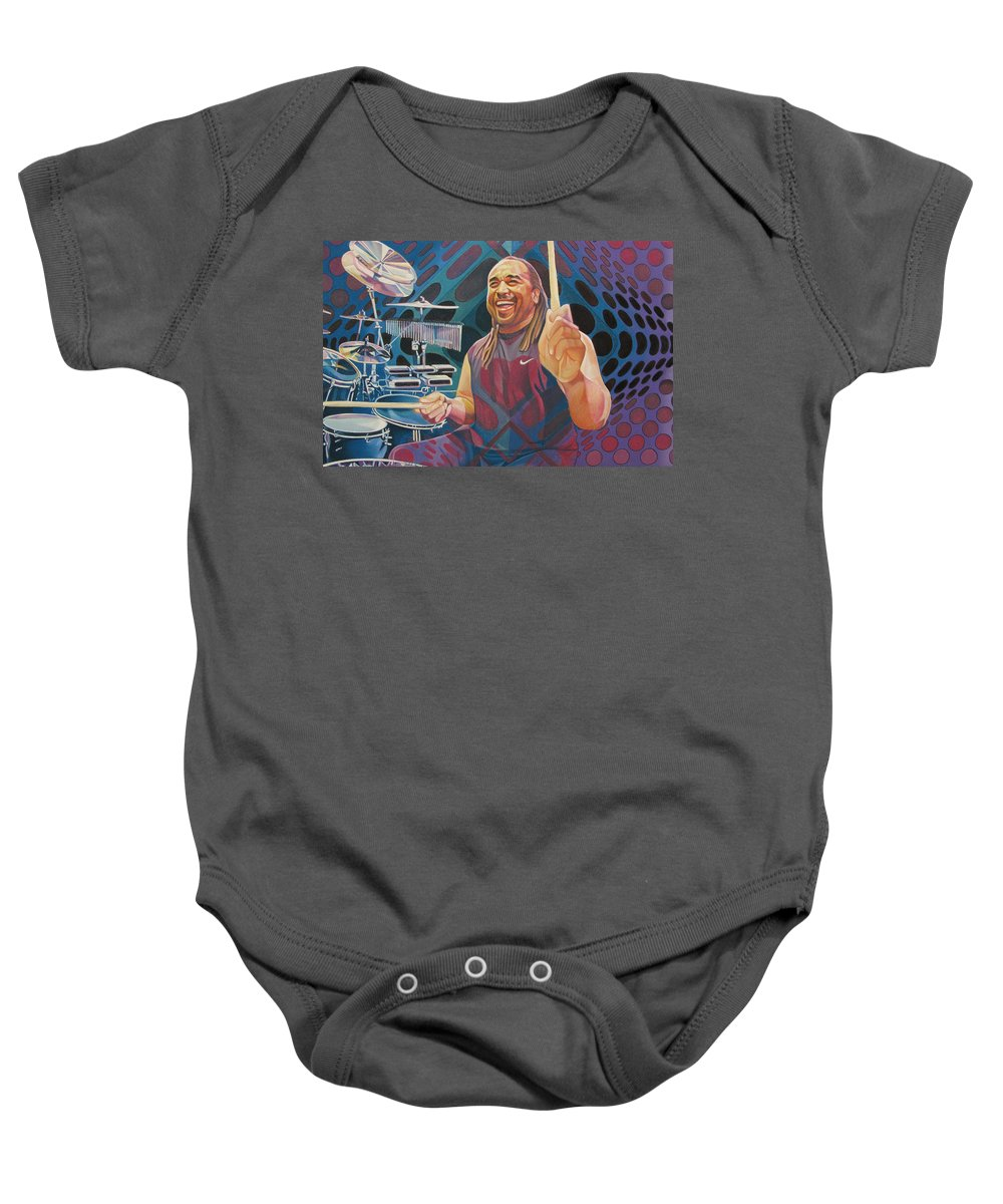Carter Beauford Baby Onesie featuring the drawing Carter Beauford Pop-op Series by Joshua Morton