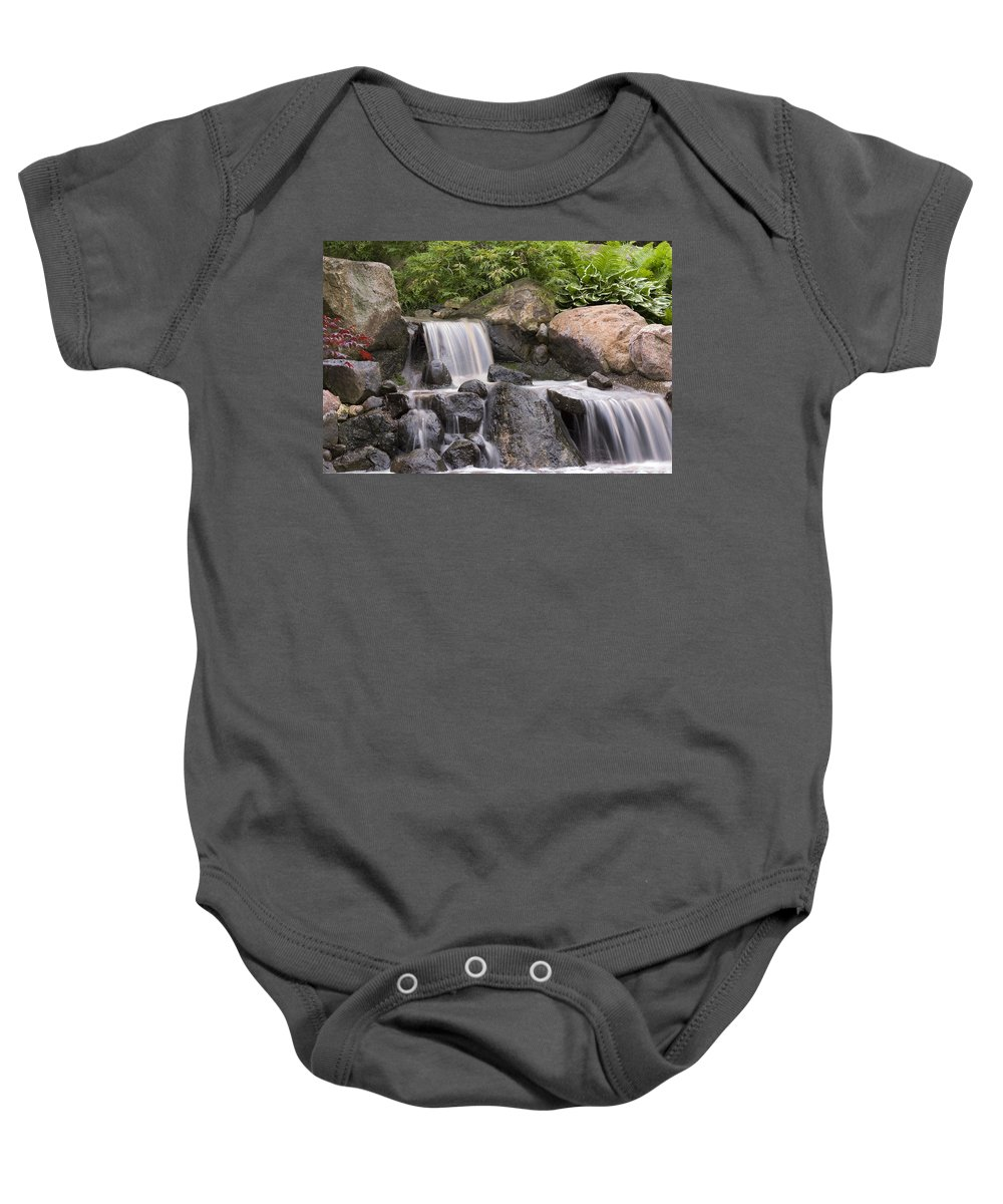 3scape Baby Onesie featuring the photograph Cascade Waterfall by Adam Romanowicz