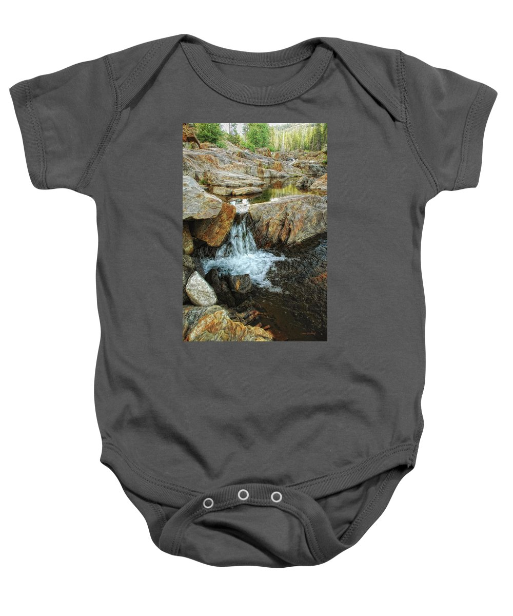 Yuba River Baby Onesie featuring the photograph Cascading Downward by Donna Blackhall