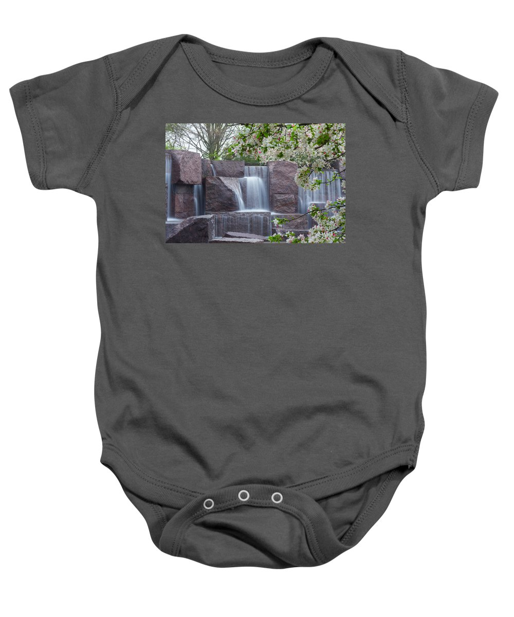 Memorial Baby Onesie featuring the photograph Cascading Waters At The Roosevelt Memorial by Leah Palmer