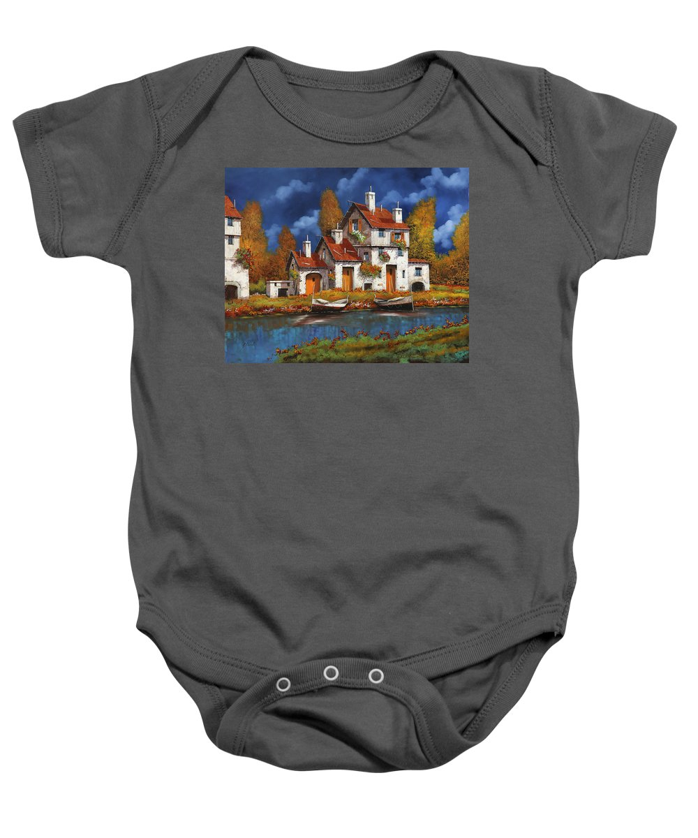 White House Baby Onesie featuring the painting Case Bianche Sul Fiume by Guido Borelli