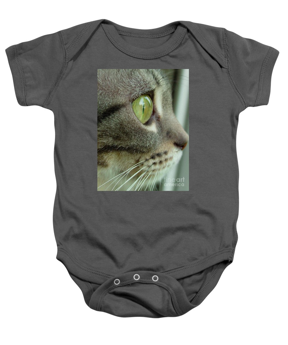 American Shorthair Baby Onesie featuring the photograph Cat Face Profile by Amy Cicconi
