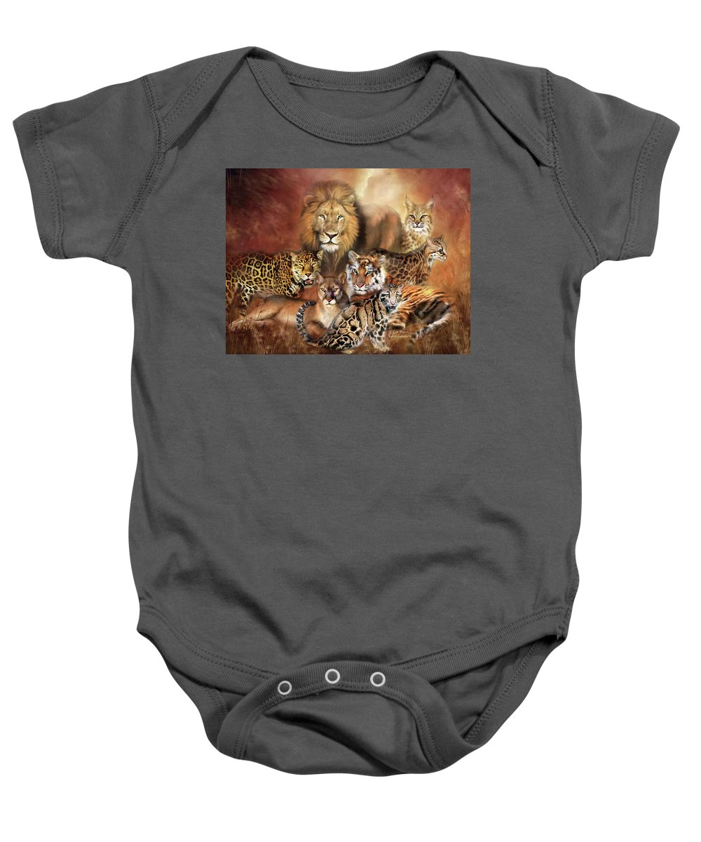 Lion Baby Onesie featuring the mixed media Cat Power by Carol Cavalaris