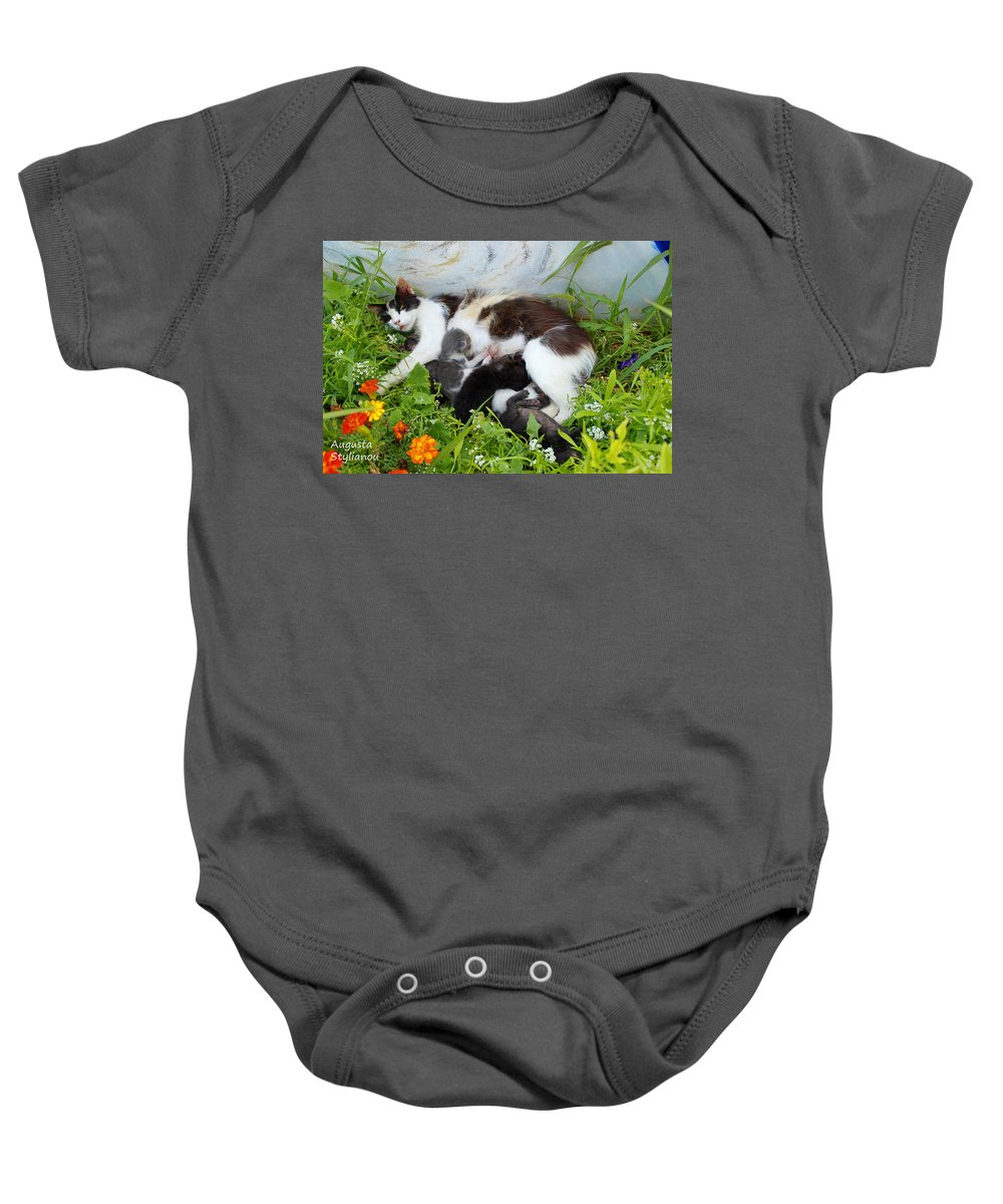 Augusta Stylianou Baby Onesie featuring the photograph Cat Suckling by Augusta Stylianou