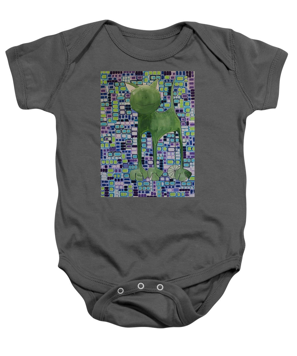 Green Cat With Lime Wheel Baby Onesie featuring the painting cat with lime wheel II by Donna Howard