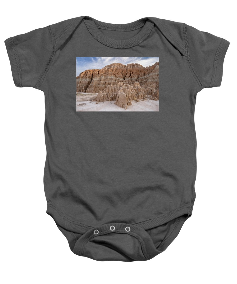 Cathedral Gorge Baby Onesie featuring the photograph Cathedral Gorge Morning by Greg Nyquist
