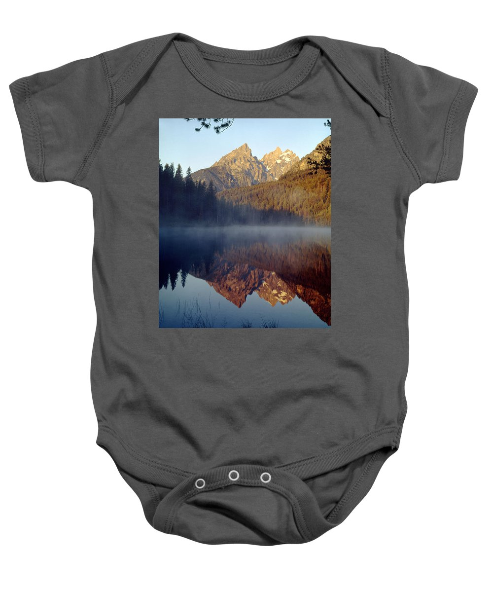 Cathedral Group Baby Onesie featuring the photograph 4m9304-cathedral Group Reflection, Tetons, Wy by Ed Cooper Photography