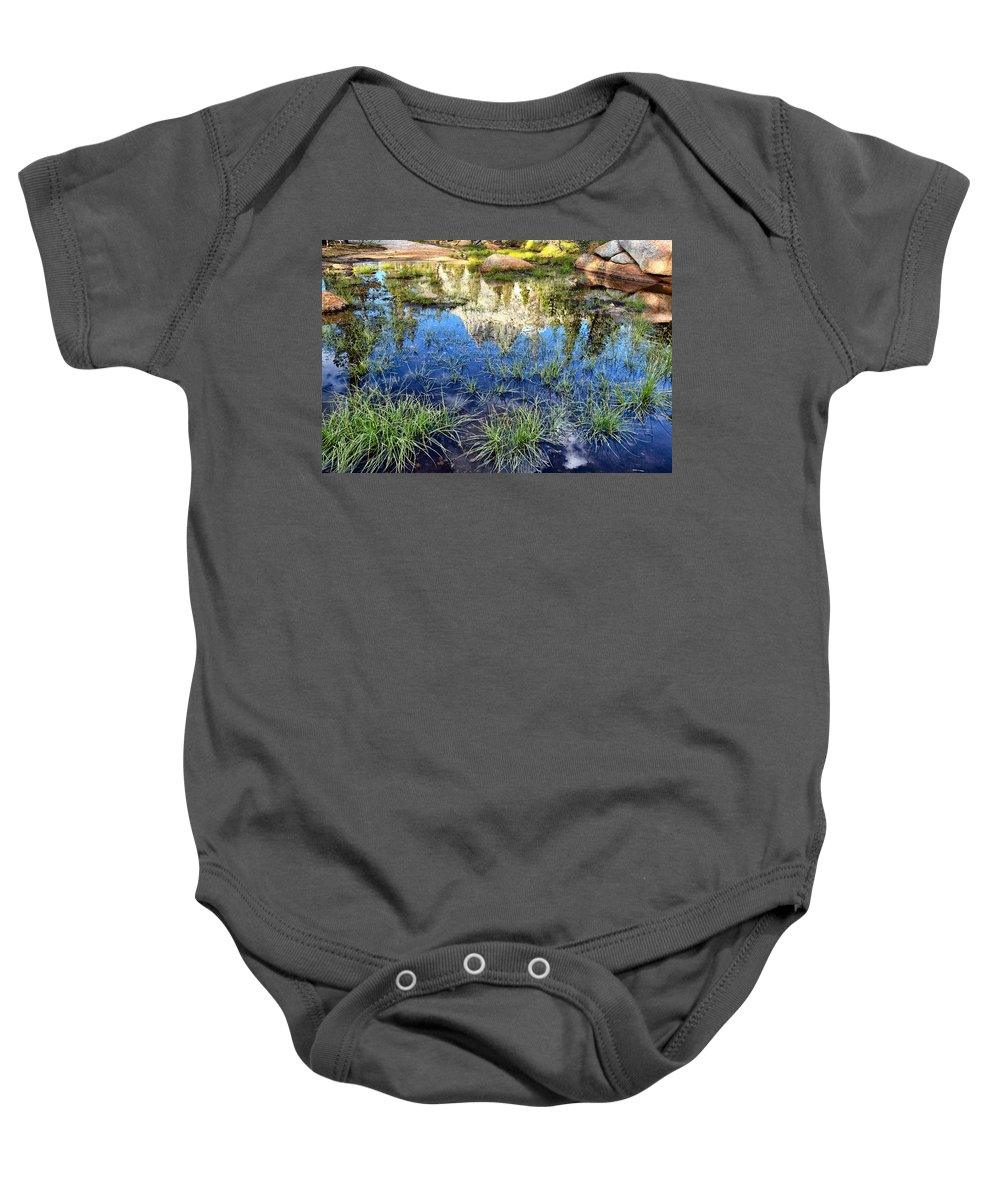 John Muir Trail Baby Onesie featuring the photograph Cathedral Reflection by Shauna Milton