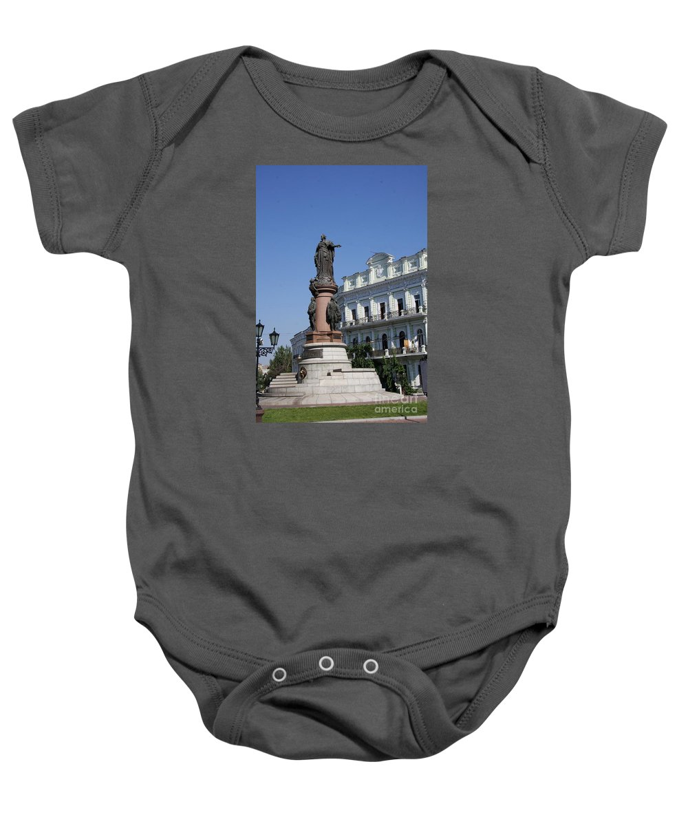 Jugendstil House Baby Onesie featuring the photograph Catherine The Great Statue Odessa by Christiane Schulze Art And Photography