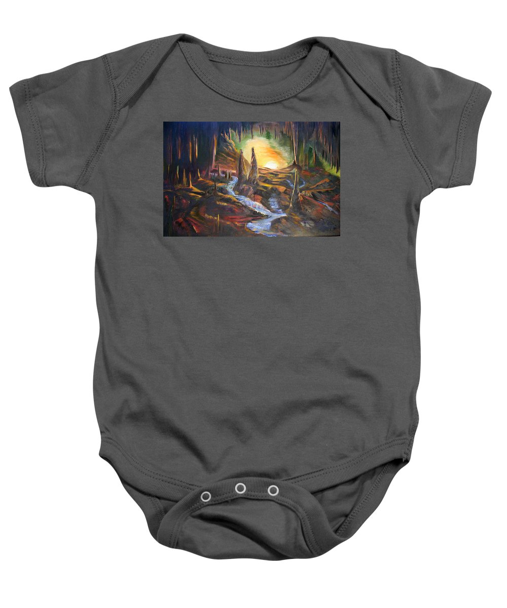 Rock Baby Onesie featuring the painting Cave Dwellers by Sue Stake
