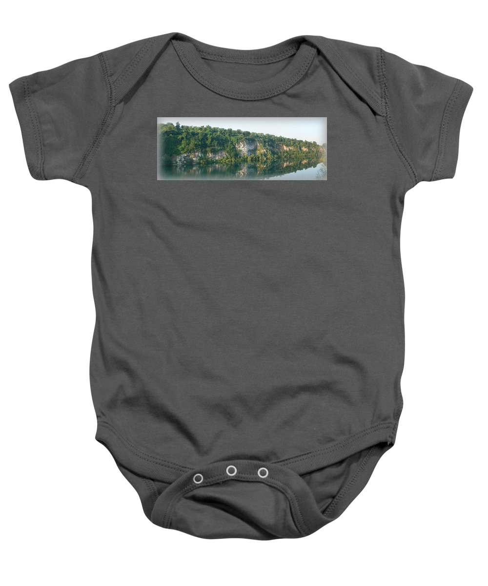 Cedar Hollow Quarry Baby Onesie featuring the photograph Cedar Hollow Quarry Panorama by Michael Porchik