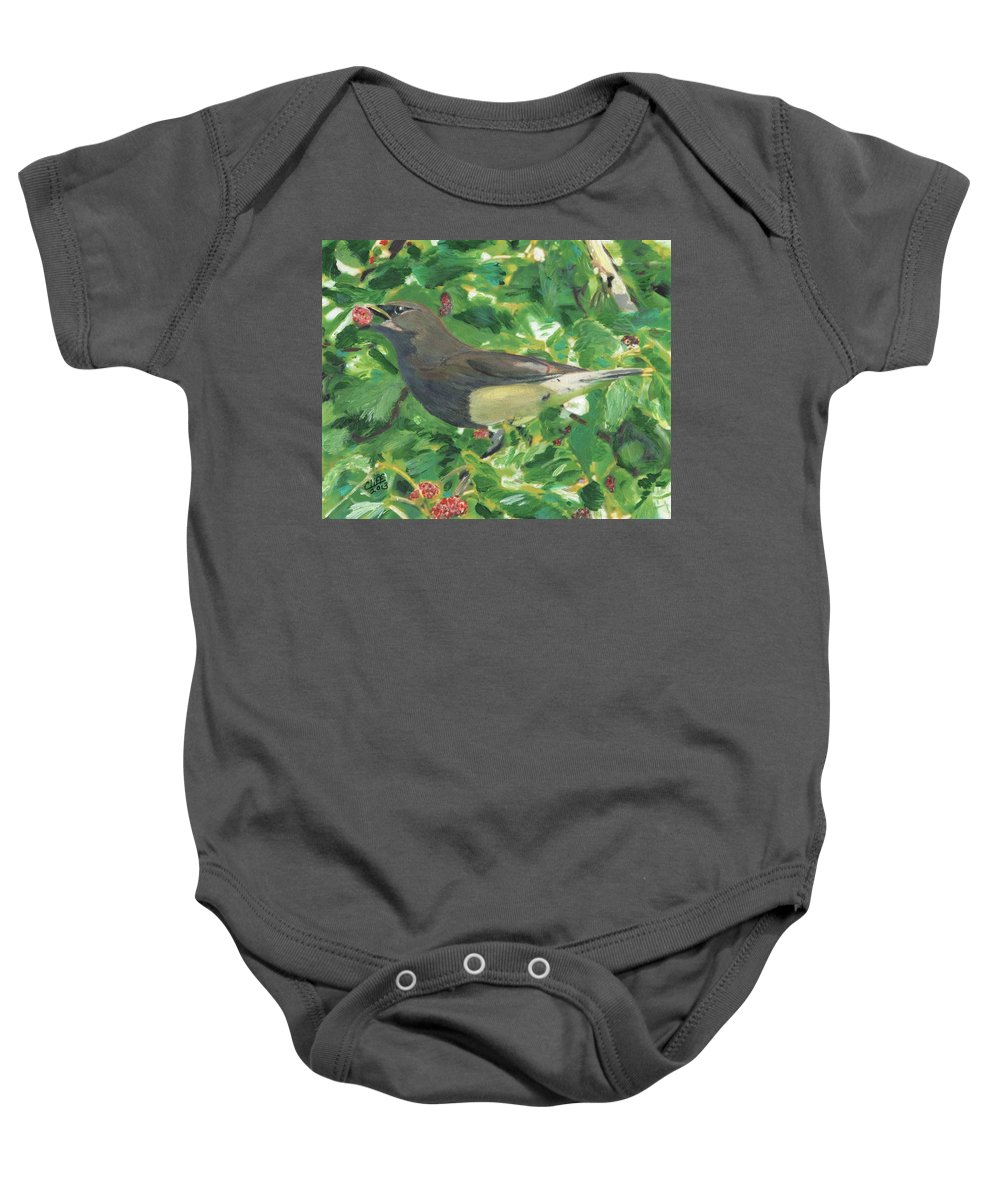 Bird Baby Onesie featuring the painting Cedar Waxwing Eating Mulberry by Cliff Wilson