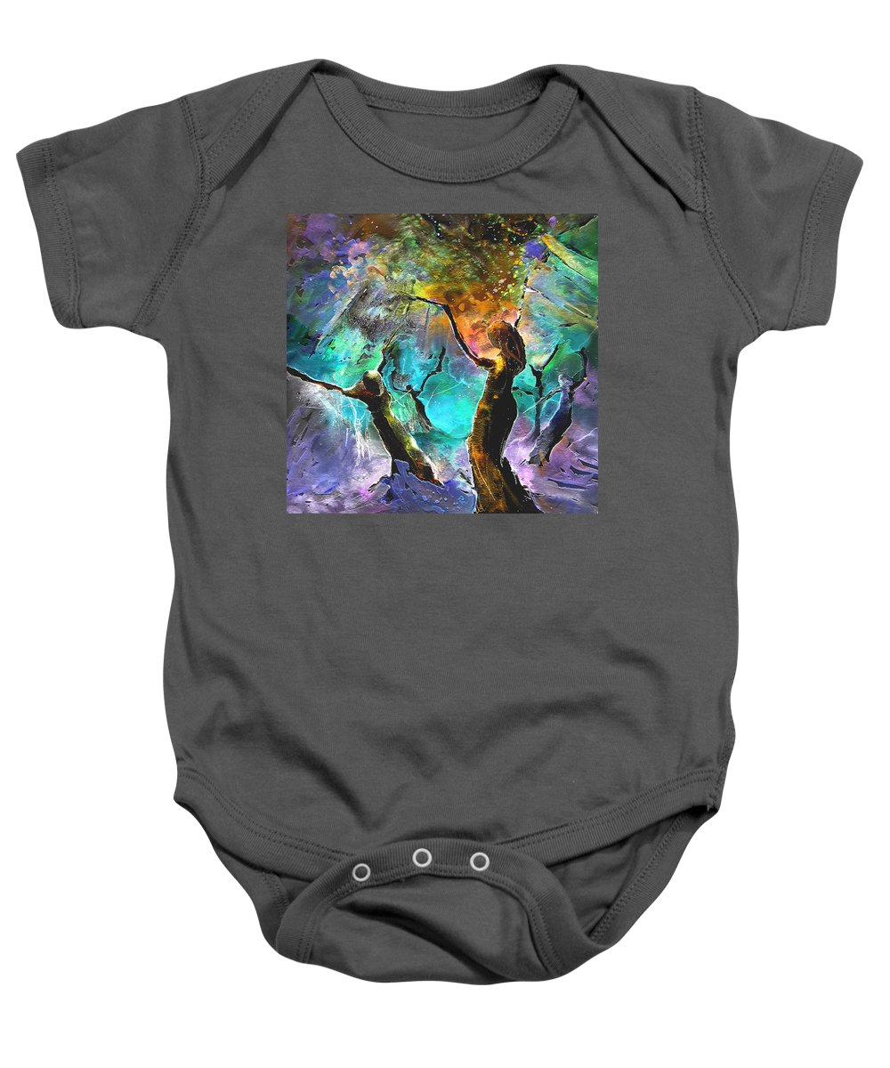Miki Baby Onesie featuring the painting Celebration Of Life by Miki De Goodaboom