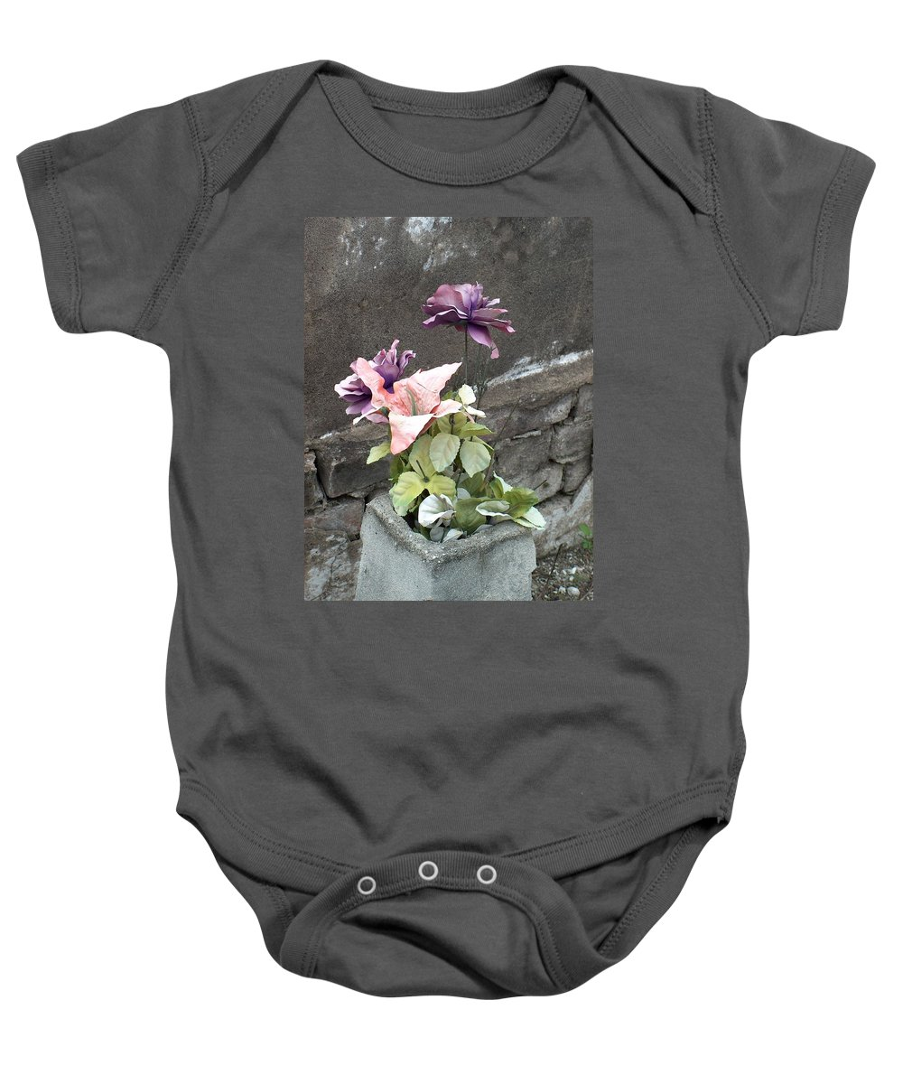 Flower Baby Onesie featuring the photograph Cemetary Flowers 2 by Richard Booth