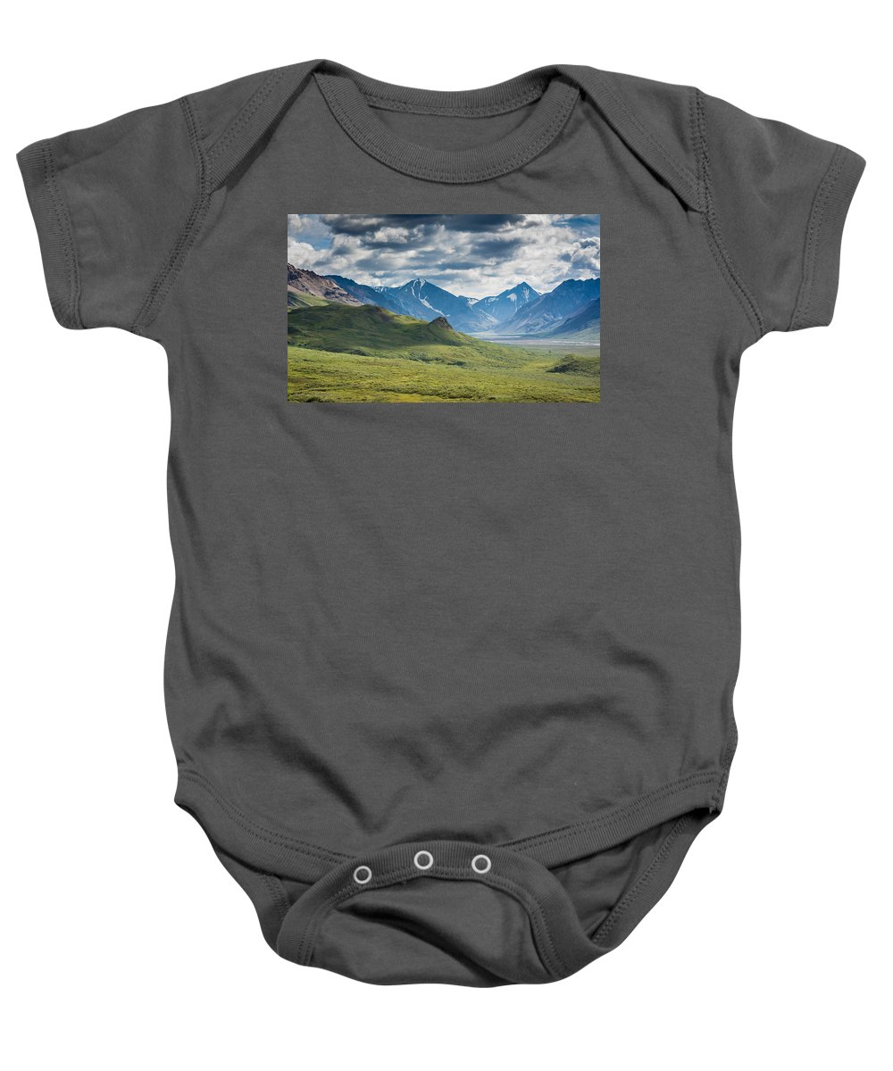 Alaska Baby Onesie featuring the photograph Center Of The Valley by Andrew Matwijec