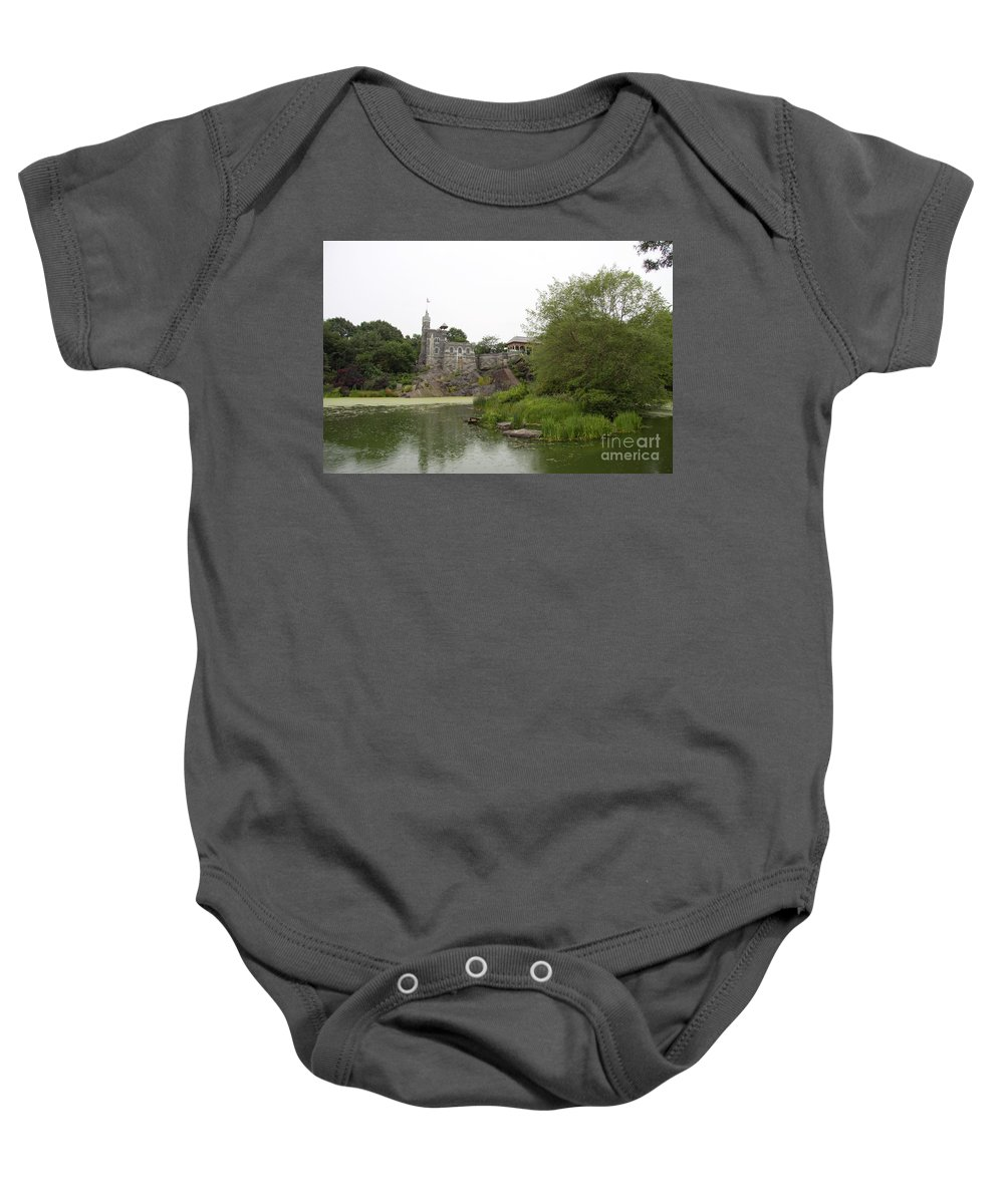 Castle Baby Onesie featuring the photograph Central Park Castle Belvedre by Christiane Schulze Art And Photography