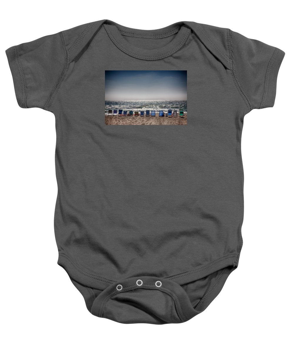 Beach Baby Onesie featuring the photograph Chairs Watching The Sunset by Peter Tellone