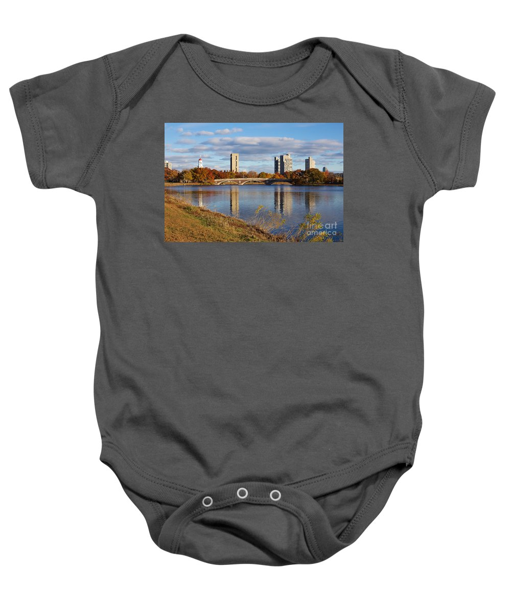 Andrew Canzanelli Baby Onesie featuring the photograph Charles River At Harvard In Fall by Jannis Werner