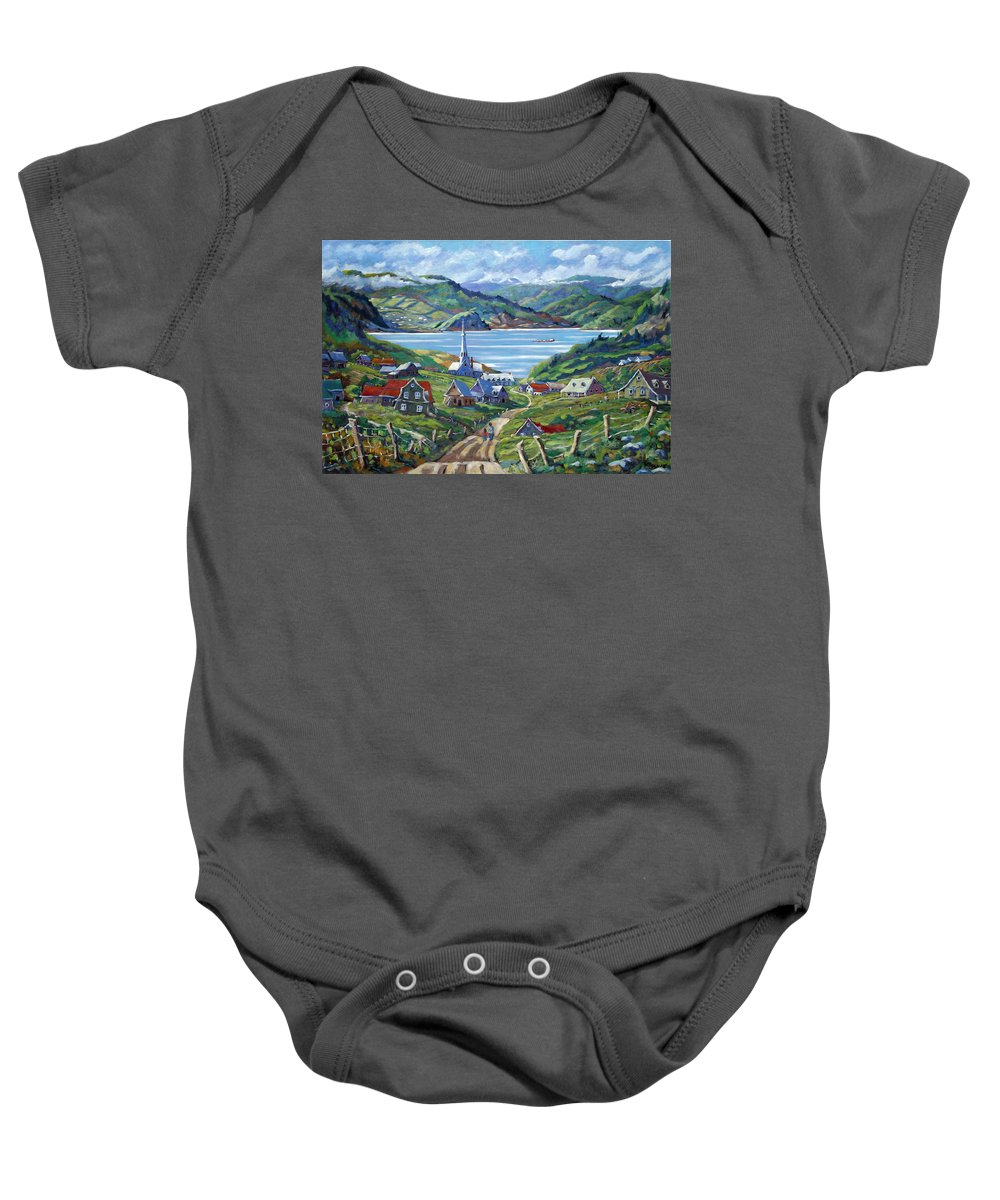 Baby Onesie featuring the painting Charlevoix Scene by Richard T Pranke
