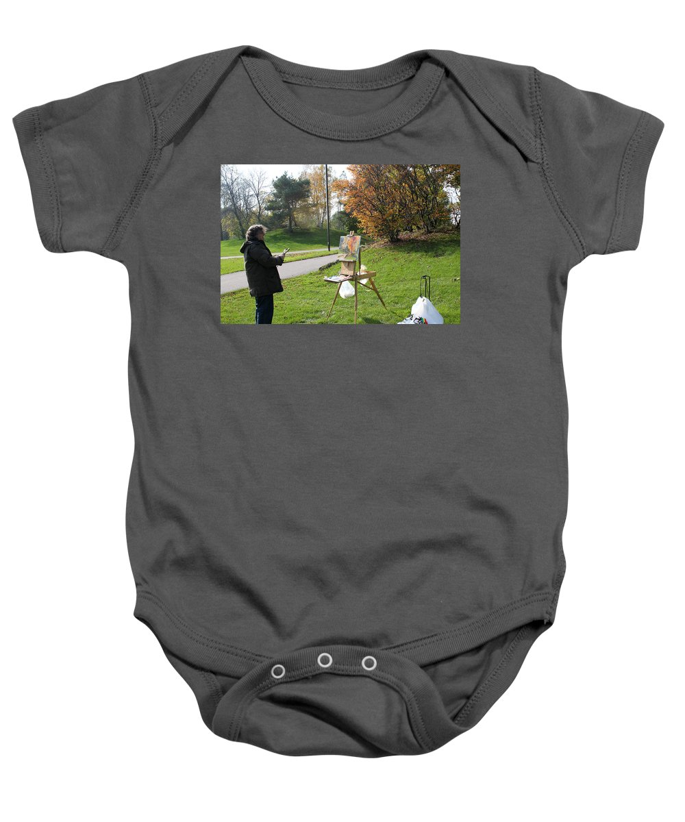 Outdoor Painting Baby Onesie featuring the photograph Chasing The Autumn Colors by Ylli Haruni