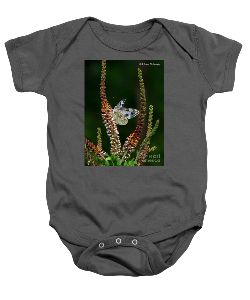 Checkered White Butterfly Baby Onesie featuring the photograph Checkered White On An Indigo by Barbara Bowen