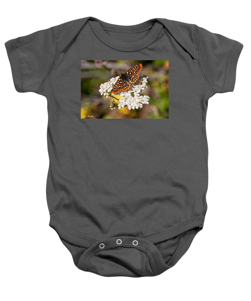 Animal Baby Onesie featuring the photograph Checkerspot Butterfly On A Yarrow Blossom by Jeff Goulden