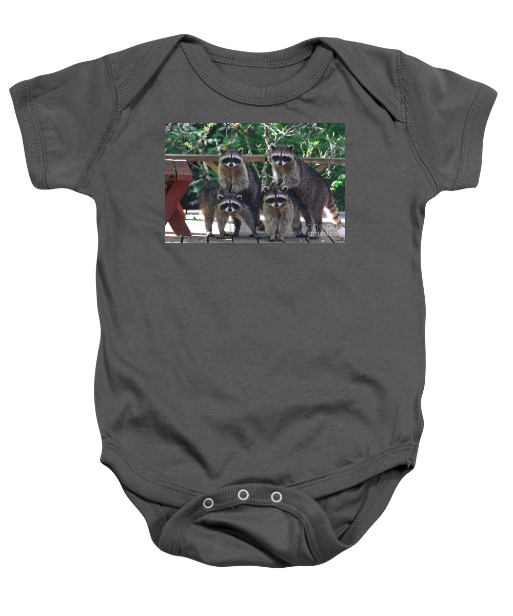 Animals Baby Onesie featuring the photograph Cheerleading Raccoons by Kym Backland