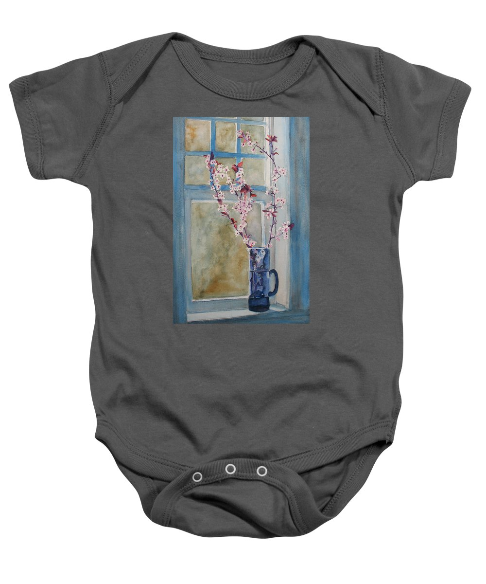 Cherry Blossoms Baby Onesie featuring the painting Cherry Blossoms In A Blue Pitcher by Jenny Armitage
