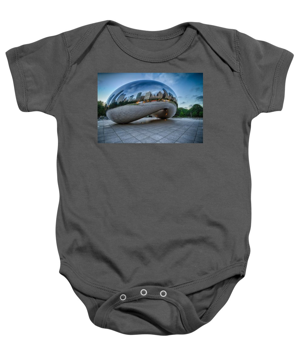 Cloudgate Baby Onesie featuring the photograph Chicago - Cloudgate Reflections by Lindley Johnson