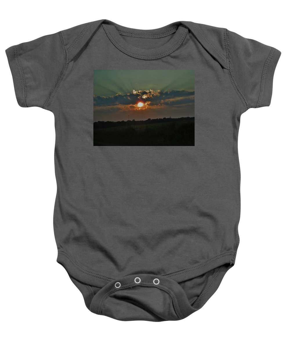Chicago Baby Onesie featuring the photograph Chicago Sunset by Amanda Edwards