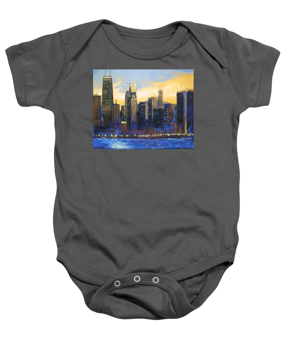 Chicago Skyline Baby Onesie featuring the painting Chicago Sunset Looking South by Joseph Catanzaro