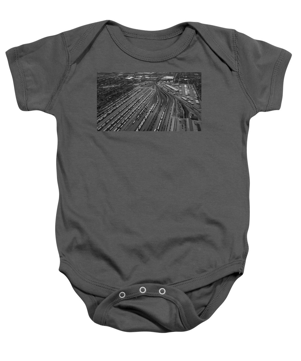 Il Baby Onesie featuring the photograph Chicago Transportation 02 Black And White by Thomas Woolworth
