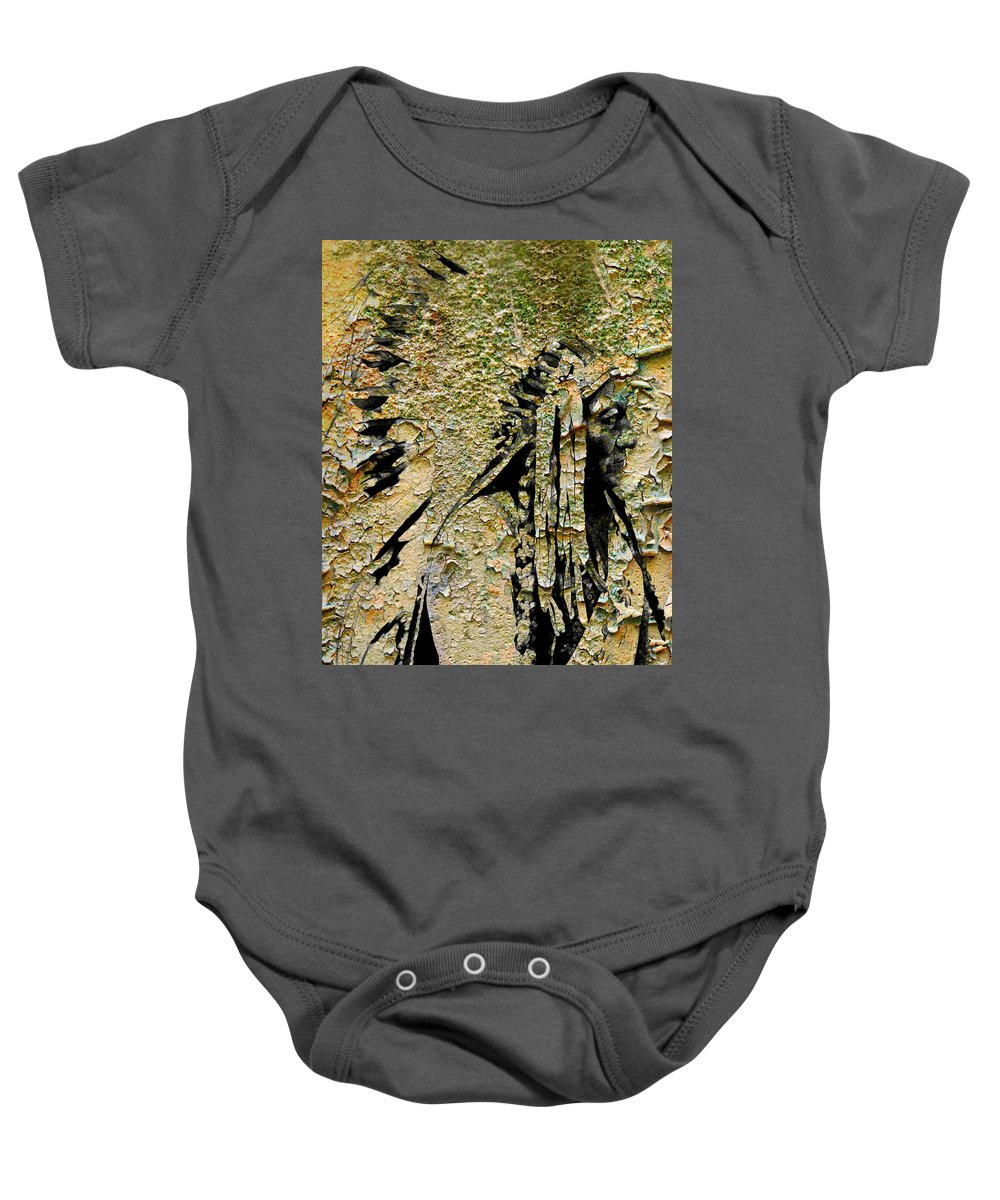 Indian Baby Onesie featuring the digital art Chief Sitting Bull History by Mary Clanahan