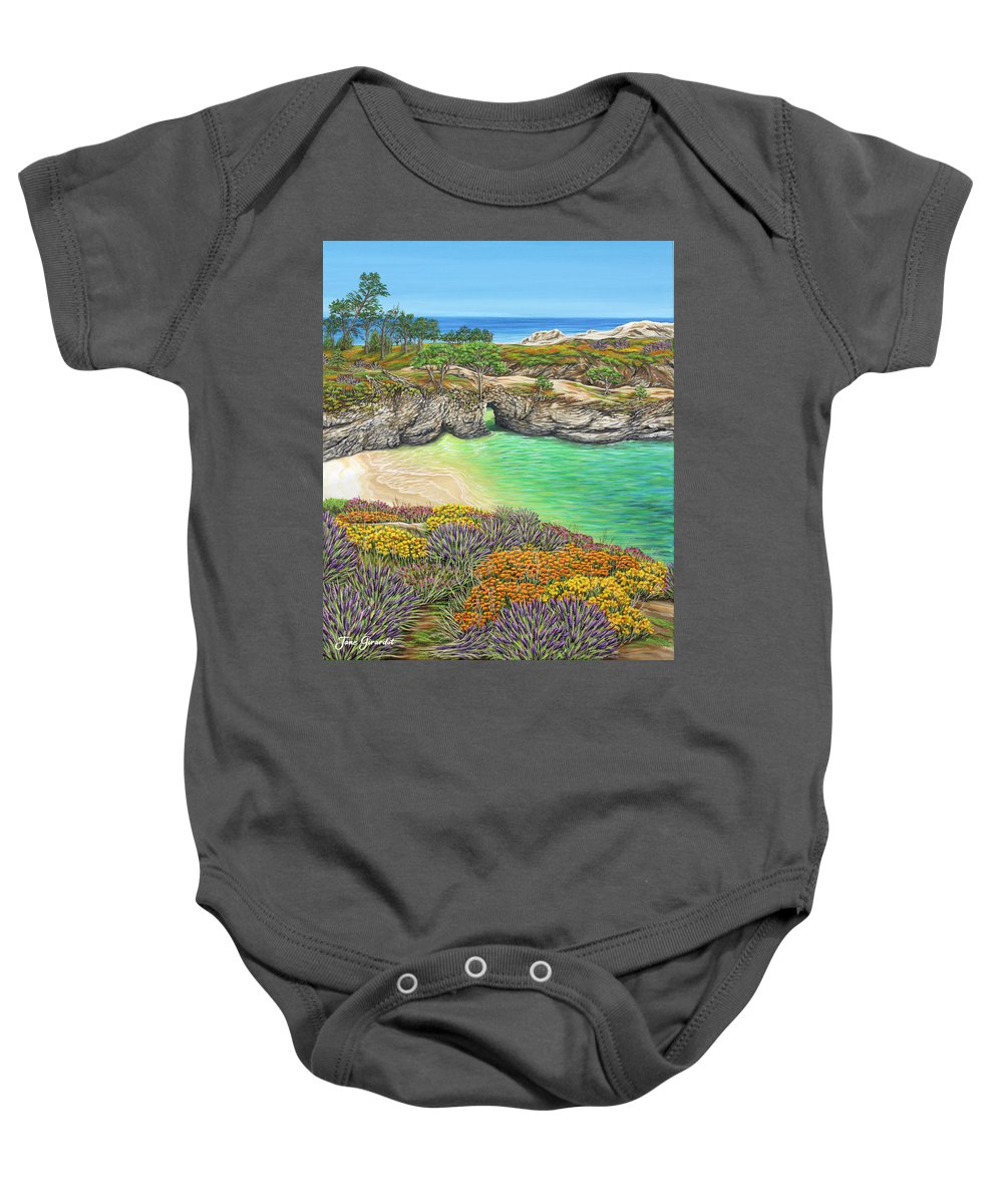 Ocean Baby Onesie featuring the painting China Cove Paradise by Jane Girardot