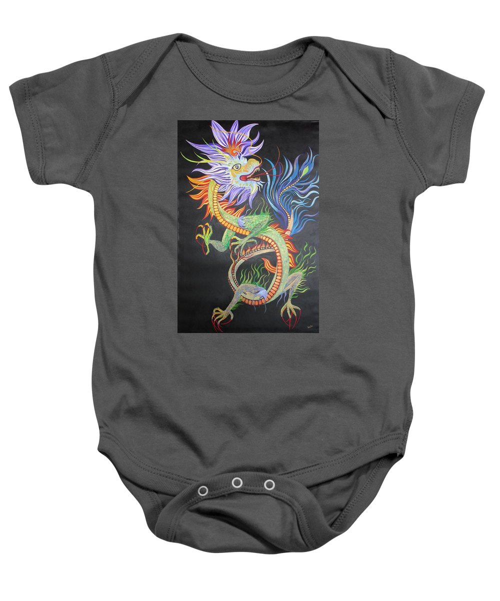 Baby Onesie featuring the painting Chinese Fire Dragon by Taiche Acrylic Art
