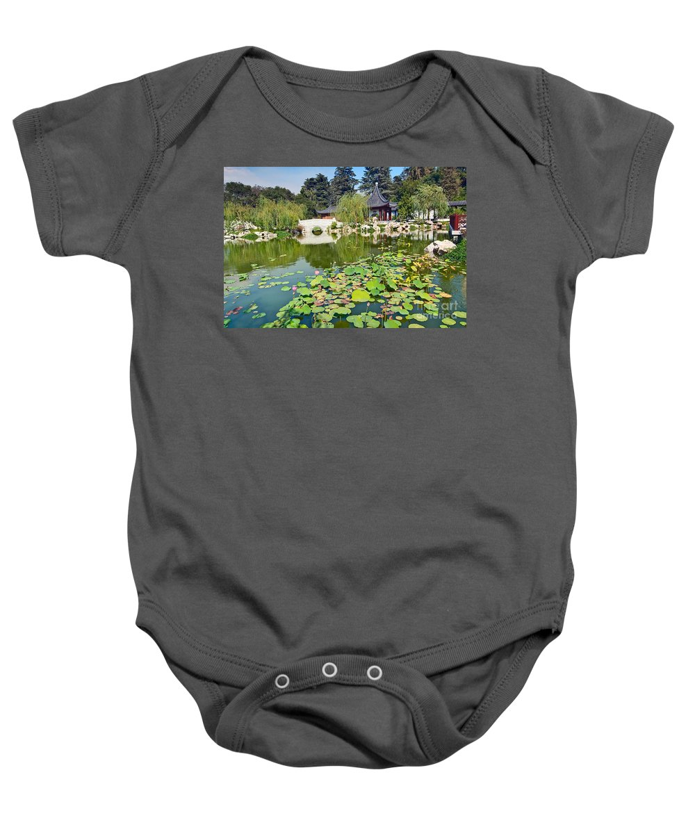 Chinese Garden Baby Onesie featuring the photograph Chinese Garden - Huntington Library. by Jamie Pham