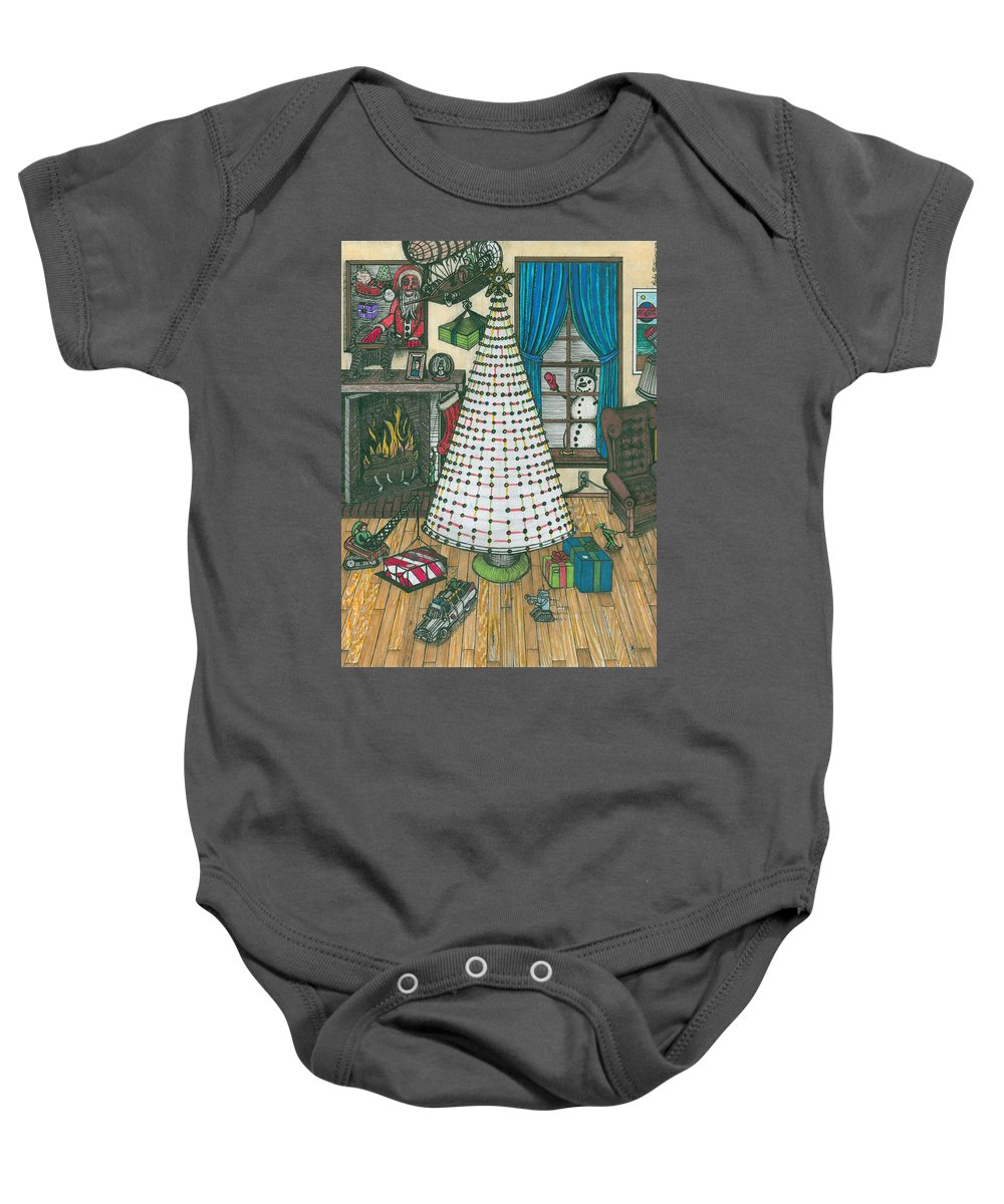 Chrismas Baby Onesie featuring the painting Christmas Card Drawing by Richie Montgomery