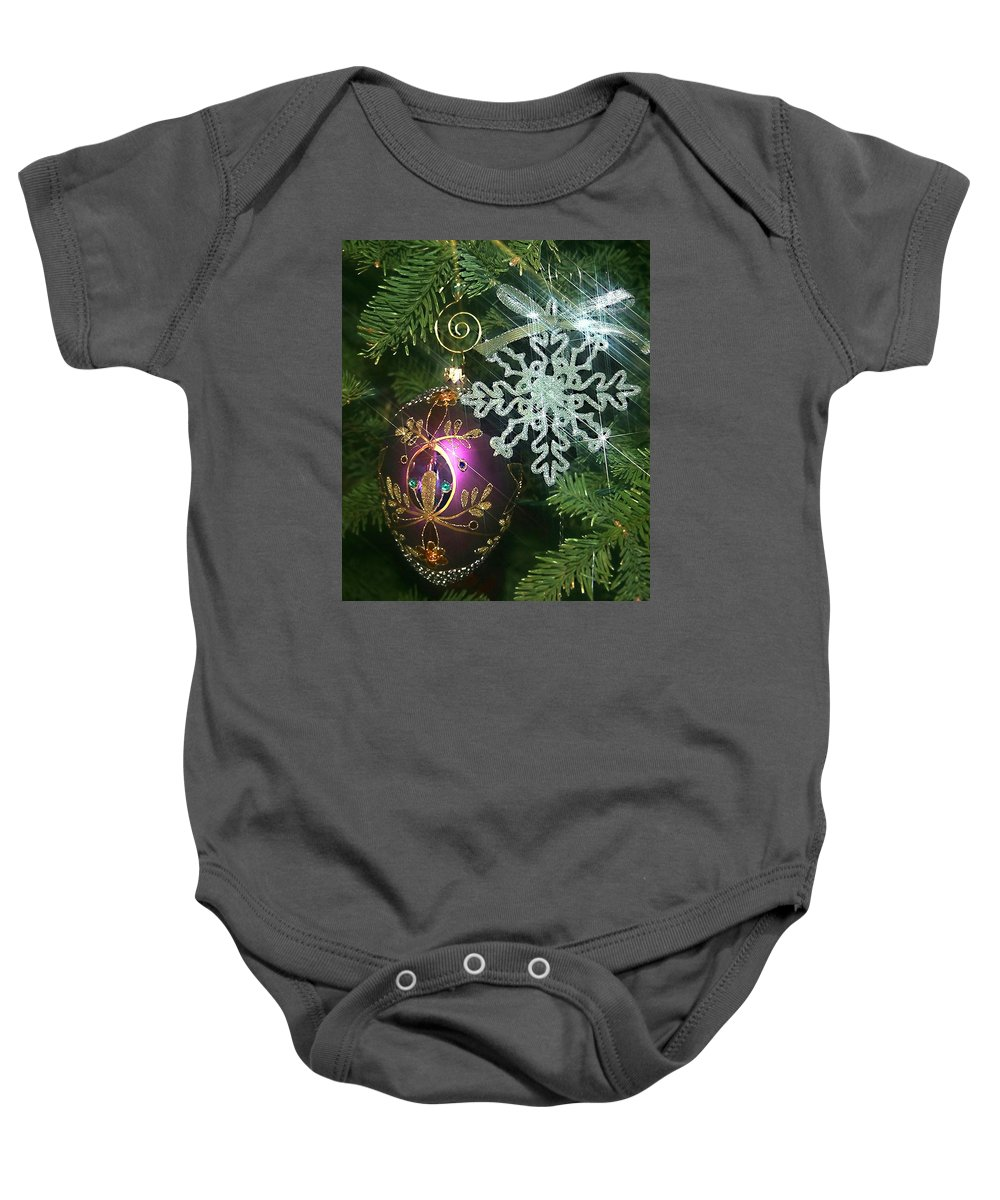 Christmas Ornaments Baby Onesie featuring the photograph Christmas Ornaments 2 by Ellen Henneke