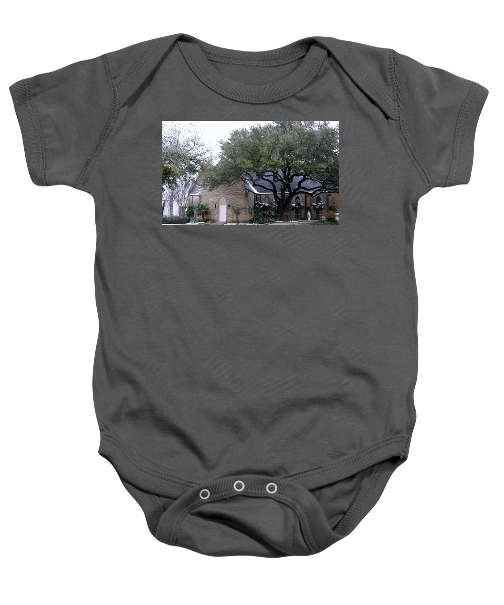Fort Worth Texas Baby Onesie featuring the photograph Church On Pennsylvania St Fort Worth Tx by Amy Hosp