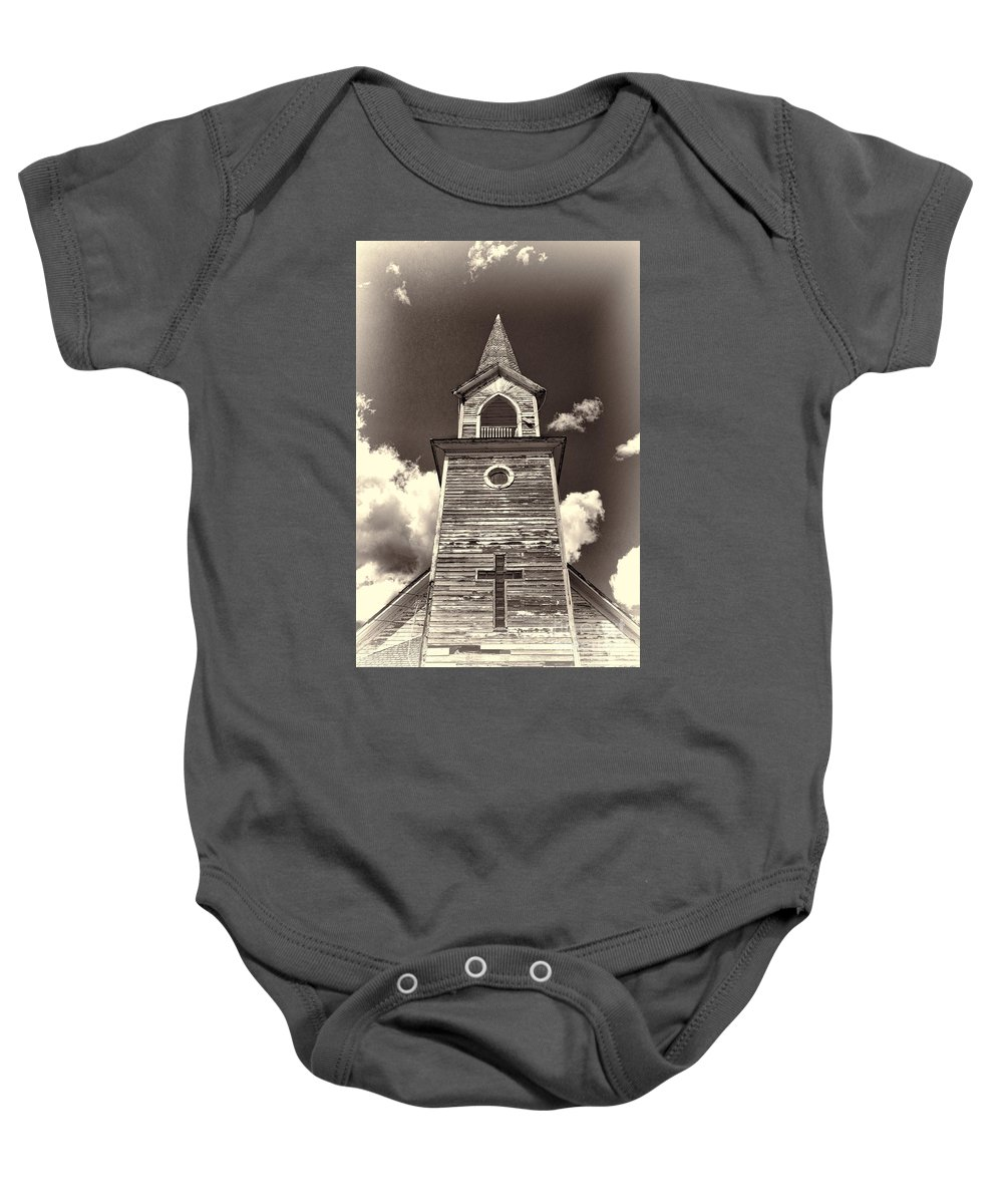 Steeple Baby Onesie featuring the photograph Church Steeple 2 by David Arment