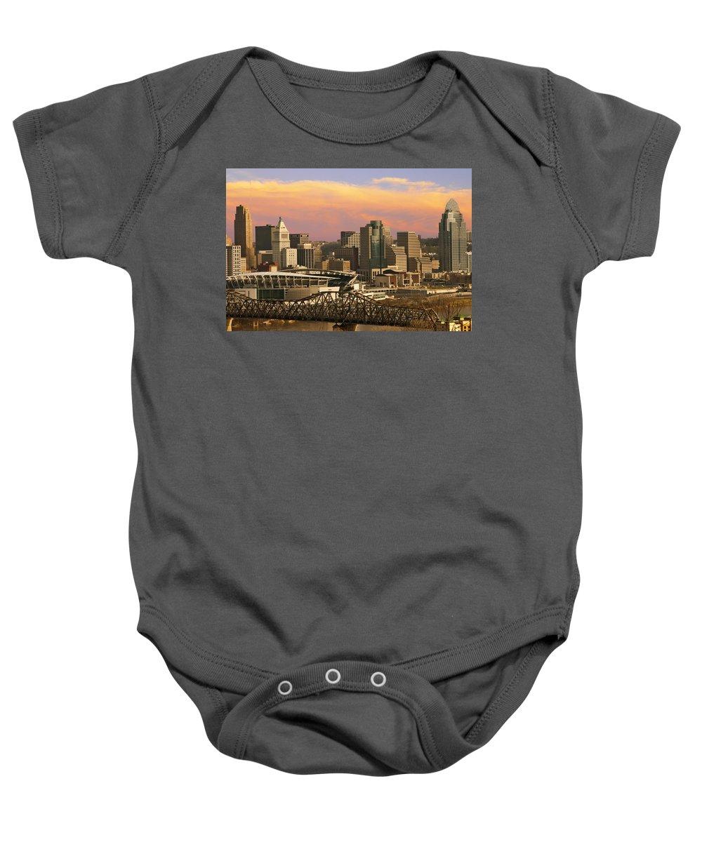 Cincinnati Baby Onesie featuring the photograph Cincinnati Over The Bridge by Randall Branham