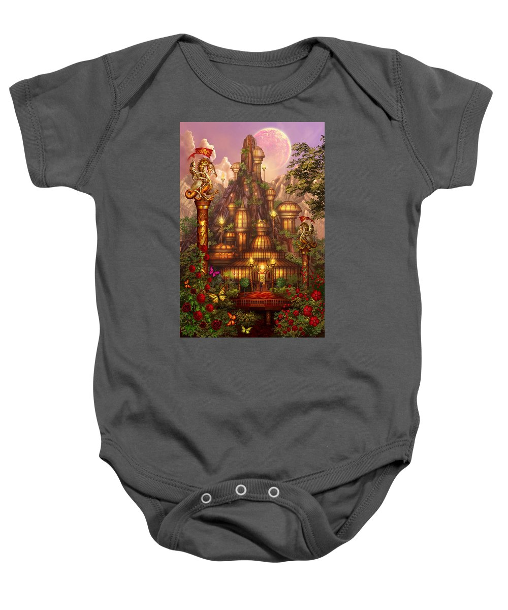 Ciro Marchetti Baby Onesie featuring the digital art City Of Wands by MGL Meiklejohn Graphics Licensing