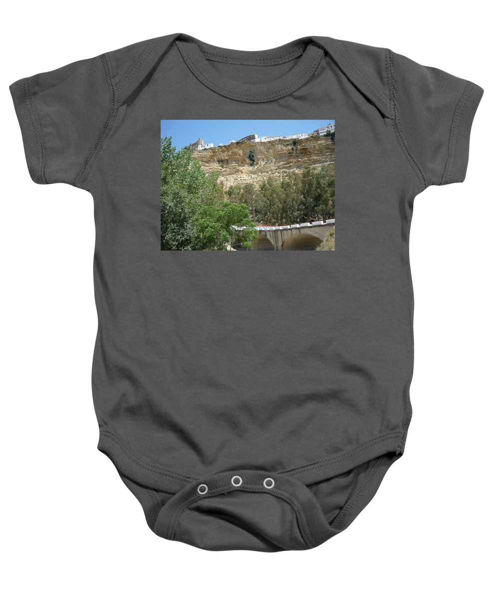 Cliff City Baby Onesie featuring the photograph City On A Cliff by Kimberly Maxwell Grantier